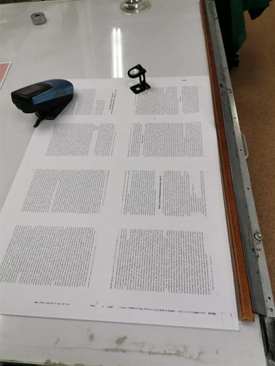 Отпечатанный лист на пробу